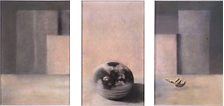 pastel triptych of round ceramic bowl with pink surrounds