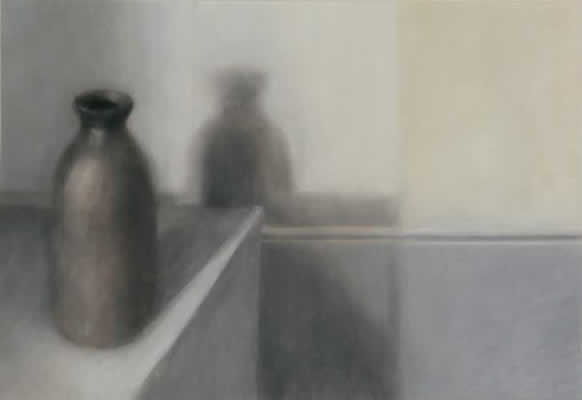 pastel painting of softly shadowed brown bottle